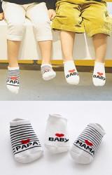 ถุงเท้าเด็กข้อสั้นแบบหนา แพ็ค 3 คู่ สีขาวลายรัก PAPA, MAMA และ BABY
