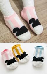 ถุงเท้าเด็กข้อสั้นแบบหนา แพ็ค 3 คู่ ลายมิกกี้คาดลายตั้ง