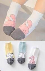 ถุงเท้าเด็กข้อสั้น แพ็ค 3 คู่ แบบหนา ลายกระต่าย จิ้งจอกและกบ
