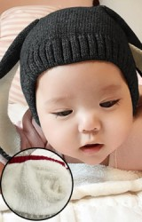 หมวกไหมพรมเด็กกระต่ายหูยาว มีซับใน