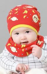 เซ็ตหมวกเด็กลายลายลิงและกล้วยมาพร้อมผ้ากันเปื้อนแบบโค้ง