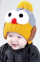 หมวกไหมพรมเพนกวินตาโต จาก RIYUEHAO