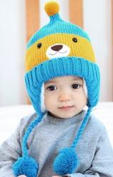 หมวกไหมพรมหมีน้อยแต่งจุกปอมปอมเล็กๆ ด้านบน MOFABABI