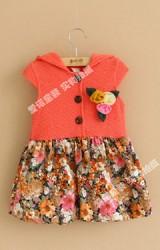 เดรสสาวน้อย ตัวเสื้อสีส้มมีฮู้ด หน้าอกแต่งดอกไม้สามสี กระโปรงผ้าลายดอก