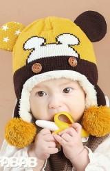 หมวกไหมพรมหน้ามิกกี้แต่งปอมปอมห้อยพร้อมซับอุ่นๆ MOFABABI