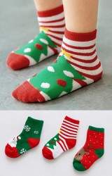 ถุงเท้าเด็กข้อสั้น แพ็ค 3 คู่ แบบหนา ลายคริสต์มาส