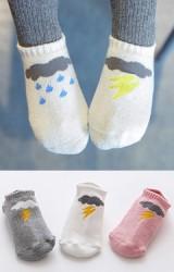 ถุงเท้าเด็กข้อสั้น แพ็ค 3 คู่ แบบหนา ลายเมฆและฝน