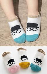 ถุงเท้าเด็กข้อสั้น แพ็ค 3 คู่ แบบหนา ลายแว่นตาและหมวก