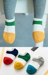 ถุงเท้าเด็กข้อสั้น แพ็ค 3 คู่ แบบหนา ลายขวางใหญ่สลับสี