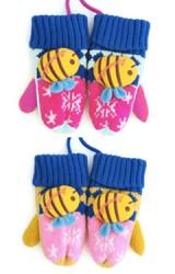 ถุงมือไหมพรมกันหนาวเด็ก ลายหิมะรูปผึ้งน้อยแบบนูน Lemonkid