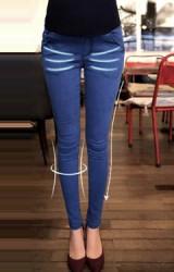 กางเกงยีนส์คนท้องขายาวแบบเรียบทรงสวย