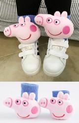 ถุงเท้าเด็กแต่งตุ๊กตาหมูชมพู Peppa Pig