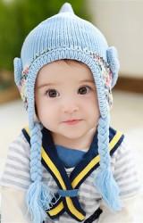 หมวกไหมพรมสาวน้อยแต่งโบว์ข้างน่ารัก ด้านบนยอดแหลม TUTUYA