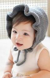 หมวกถักสาวน้อย มีเชือกผูกใต้คาง ระบายสวยๆ