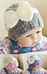 หมวกไหมพรมสาวน้อยแต่งโบว์น่ารัก