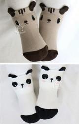 ถุงเท้าเด็กแบบหนา ลายแพนด้าและกระรอก kacakid