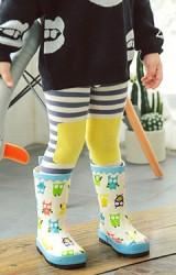 ถุงน่องเด็กกันหนาวลายขวางตัดด้วยสีสดช่วงเข่าและเท้า