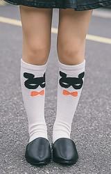 ถุงเท้าเด็กแบบยาวลายหน้าหมี ไม่มีกันลื่น