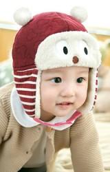 หมวกกันหนาวเด็กหน้าหมีแต่งหูลายมิกกี้น่ารัก GZMM