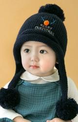 หมวกไหมพรมมีซับใน ปักเขากวางเรนเดียร์และอักษร MERRY CHRISTMAS