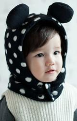 หมวกกันหนาวเด็กลายจุด แต่งหูมิกกี้น่ารัก