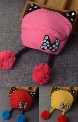 หมวกไหมพรมสาวน้อยแต่งหูแมว เพิ่มความน่ารักด้วยโบว์ด้านหน้า