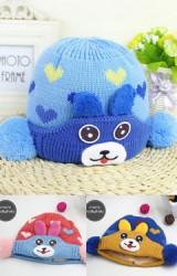 หมวกไหมพรมกระต่ายน้อยลายหัวใจ