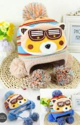 หมวกไหมพรมหมีใส่แว่น  ตัวหมวกลายขวาง
