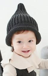 หมวกไหมพรมยอดแหลม ขอบหมวกม้วนกลม
