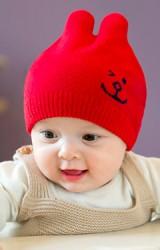 หมวกเด็กอ่อนปักหน้าหมียิ้ม GZMM