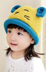 หมวกไหมพรมหมีน้อย แต่งหูน่ารัก ขอบหมวกม้วนกลม
