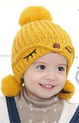หมวกไหมพรมสาวน้อยแต่งปอมปอมน่ารัก ปักรูปตา