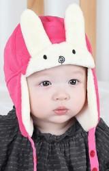 หมวกกันหนาวกระต่ายหูตั้ง ตัวหมวกผ้าลายดาว