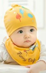 เซ็ตหมวกเด็กเล็กมาพร้อมผ้ากันเปื้อนลาย Funny Days จาก GZMM