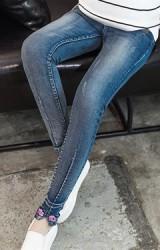 กางเกงยีนส์คนท้องขายาว ปลายขาแต่งอักษร Miss Me