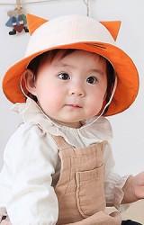 หมวกเด็กปีกรอบใต้ปีกหมวกปักหน้าแมว แต่งหูน่ารัก KUKUJI