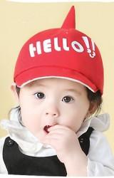 หมวกแก๊ปเด็กยอดแหลม แต่งอักษร HELLO!!