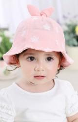 หมวกปีกรอบเด็กหญิงลายดอกไม้ด้านบนแต่งโบว์กระต่ายน่ารัก