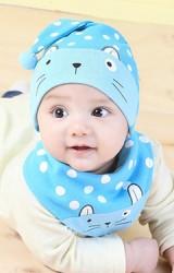 เซ็ตหมวกเด็กเล็กยอดแหลมลายจุดหน้าแมวเหมียวมาพร้อมผ้ากันเปื้อน