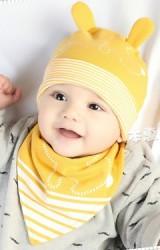 เซ็ตหมวกเด็กเล็กลายกระต่ายแต่งหูน่ารักๆ มาพร้อมผ้ากันเปื้อน