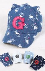 หมวกแก๊ปยีนส์เด็กโตลายแมว ปักอักษร G
