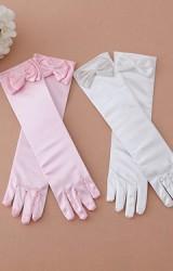 ถุงมือเด็กหญิงแบบยาวแต่งโบว์หวาน