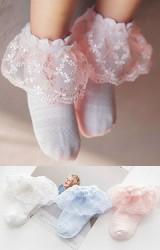 ถุงเท้าเด็กหญิง ขอบระบายลูกไม้หวาน สีชมพูโอลโรส ฟ้า และ ขาว