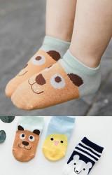ถุงเท้าเด็กแพ็ค 3 คู่ ลายเจ้าตูบ ลูกเจี๊ยบ และ หมี สีเขียว ฟ้า และ น้ำเงินกรมท่า