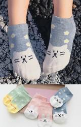ถุงเท้าเด็กแพ็ค 3 คู่ ลายกระต่าย ลูกเจี๊ยบ แมว สีชมพู เขียว และ ฟ้า