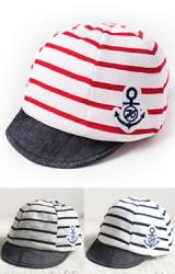 หมวกแก๊ปเด็กลายขวาง แต่งรูปสมอเรือ