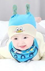 เซ็ตหมวกเด็กอ่อนมาพร้อมผ้ากันเปื้อนลายการ์ตูนน่ารัก GZMM