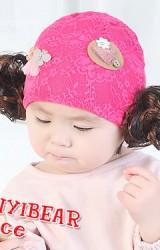 หมวกปอยผมผ้าลูกไม้ยืดแต่งผีเสื้อและดอกไม้ จาก TIANYI BEAR