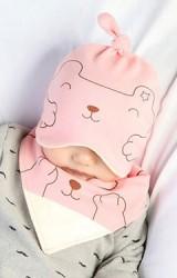 เซ็ตหมวกเด็กเล็กลายหมีมาพร้อมผ้ากันเปื้อน