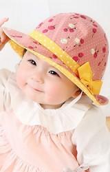 หมวกบัคเก็ตสาวน้อยผ้าฝ้ายลายดอก คาดโบว์หวาน KUKUJI